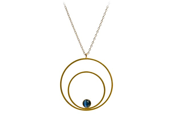 Kette Circle groß, blau, vergoldet