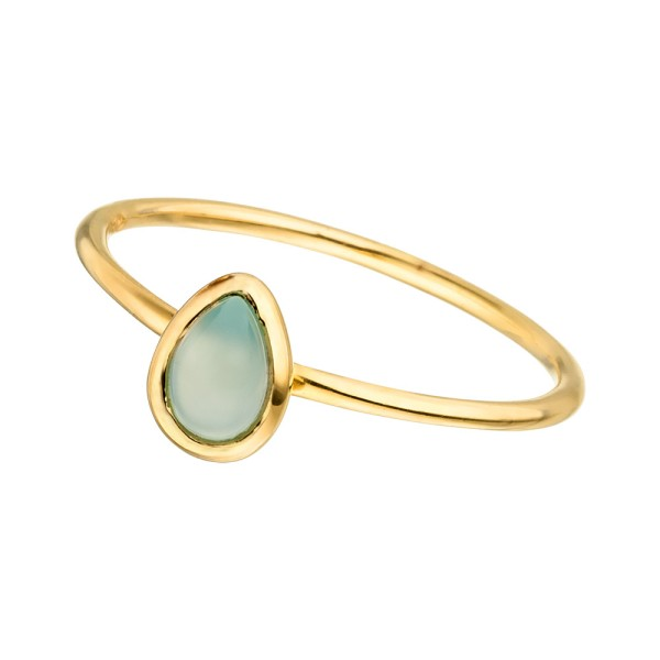 Ring Teardrop Single, vergoldet, Aqua Chalzedon