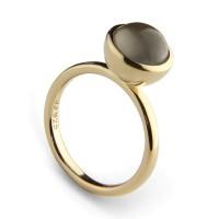Jeberg Jewellery Ring Graceful Cabochon, grey, vergoldet