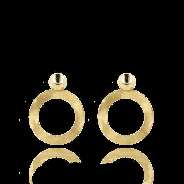 LOTT.gioielli Ohrringe offener, gehämmerter Kreis, vergoldet