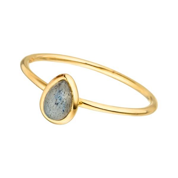 Ring Teardrop Single, vergoldet, Labradorit