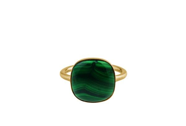 Pernille Corydon Ring Malachite, vergoldet
