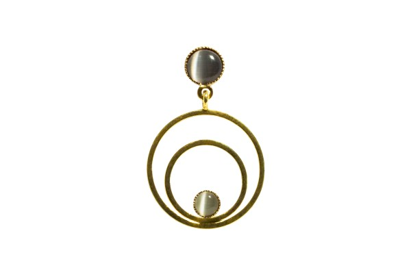 Ohrringe Circle klein, grau, vergoldet