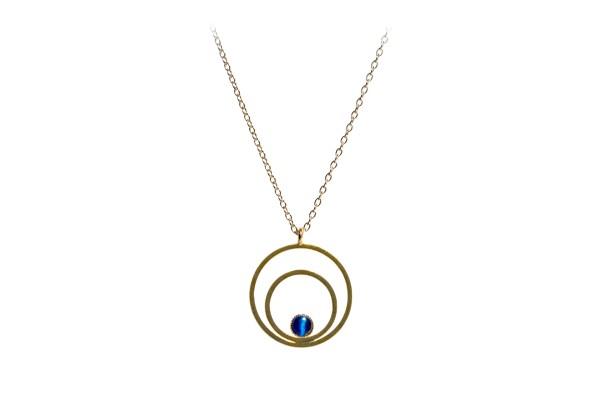 Kette Circle klein, blau, vergoldet