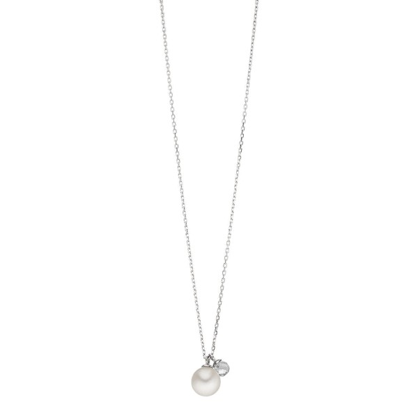 Kette Two Drop mit Perle/Bergkristall, Silber