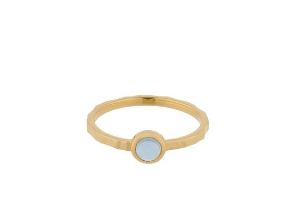 Pernille Corydon Ring Shine Blue, vergoldet