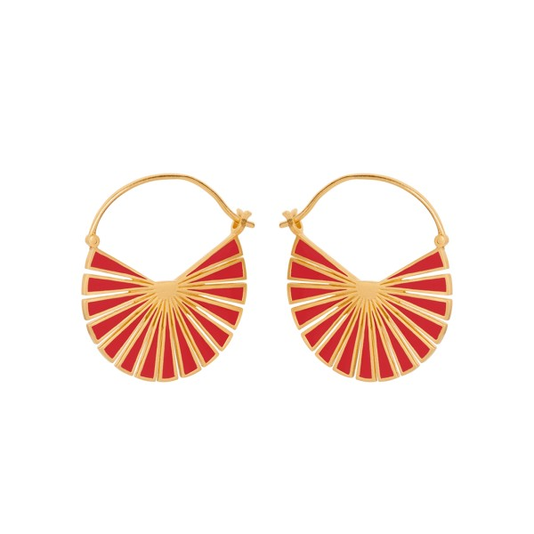 Ohrringe Flare rot, vergoldet