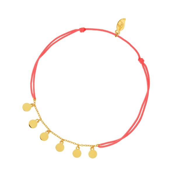 Leaf Fußkette Platelet, Koralle, vergoldet